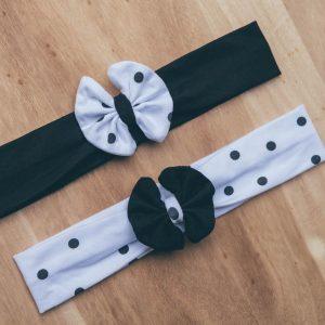 Set dveh okrasnih trakov z mašno – BLACK & WHITE & DOTS